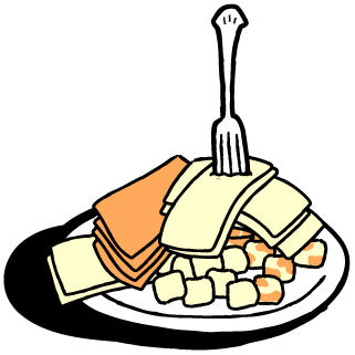 Cubed and sliced cheese on a paper plate with plastic fork.