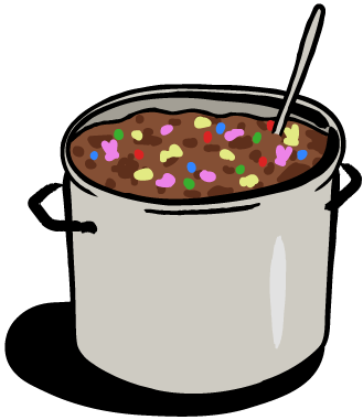 A big metal pot full of chili with speckles of brightly colored candy.