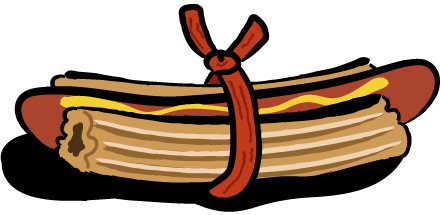 A hot dog with churros for buns and tied together with a slim jim.