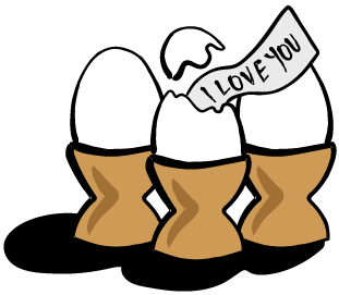 "Egg shell in an egg cup and a piece of paper coming out that says ""I Love You."""