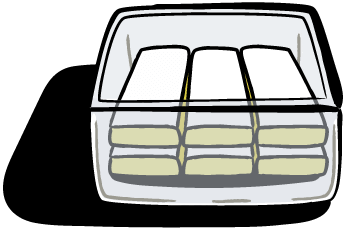 A glass tupperware of lemon bars.