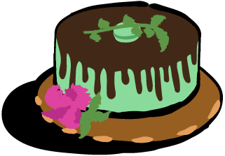 A mint green cake with chocolate dripped frosting and some decorative flowers.