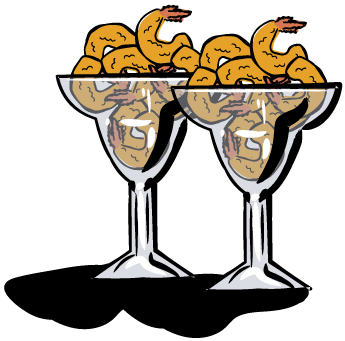 Two margarita glasses full of fried shrimp.