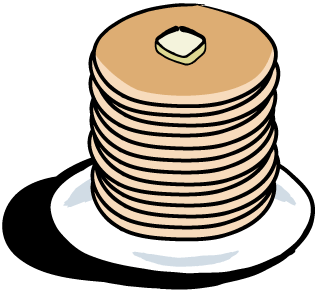 Stack of panckes with a pat of butter.