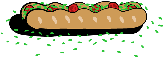 A long submarine sandwich with tomatoes and lettuce, lettuce spilling out.