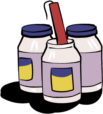 Jars of mayonnaise with a stick of dynamite.